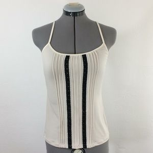NWT cream cami w/black lace and pleated front-Sz S